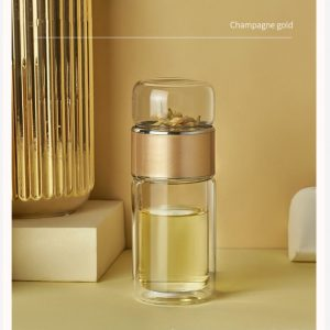 Double Walled Glass Tea Diffuser Water Bottle