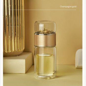 Double Walled Glass Tea Diffuser Water Bottle